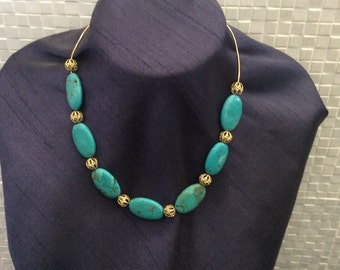 Blue turquoise gemstone necklace with 14k gold