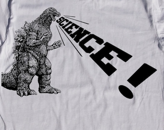mens Godzilla Science t shirt- American Apparel silver- available in S, M, L, XL, XXL- WorldWide Shipping