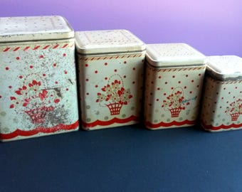 Vintage tin metal canisters, Nesting Canister Set, Farmhouse  Kitchen Decor - B4