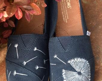 Dandelion Toms; Navy; Hand-painted Toms; Custom Toms