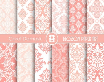 Coral Damask Digital Paper Coral Digital Paper Pack, Scrapbooking, Damask Papers - INSTANT DOWNLOAD  - 1908