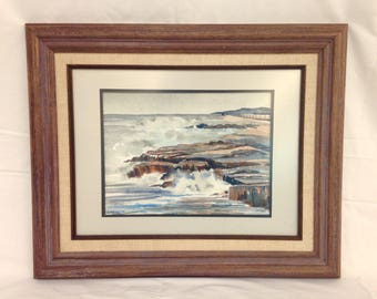 Original Watercolor Seascape Foam Pounding Waves High Tide Rock Ocean North Shore Lake Superior Cloudy Grey Day Storm Framed Matted Signed