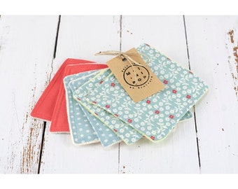 Wipes cleansing squares washable two-sided reusable, organic cotton: blue white polka dots, plain coral, flowers and organic Terry jersey.