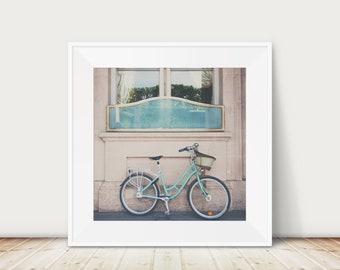 Paris bicycle photograph, Paris print, mint bicycle, bicycle art, Paris decor, European travel photograph, large wall art