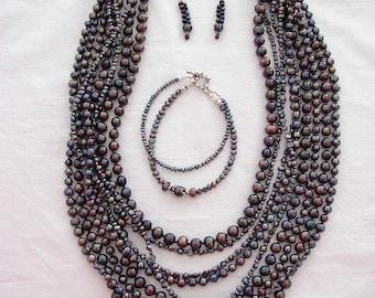 Peacock Freshwater Pearl Necklace,  Earrings, Bracelet
