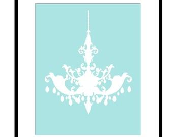Chandelier Silhouette - 8x10 Print - Modern Nursery - Kids Wall Art - Girl - Teen - Bathroom - CHOOSE YOUR COLORS