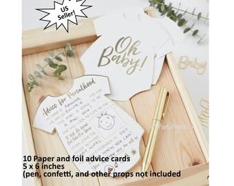 Oh bébé conseils cartes, conseils pour les nouveaux parents, baby shower idées, alternative livre commentaires, genre révèlent fête, des souvenirs, des souhaits, des jeux de douche