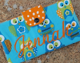 Personalized Owl Checkbook Cover, Coupon Wallet, Checkbook Case, Fabric Checkbook, Owl Gift, Owl Wallet