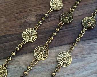 1m antique gold  Chain flower chain