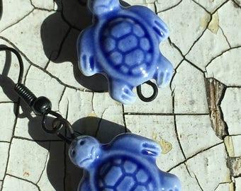 Blue Enamel SEA TURTLE EARRINGS