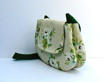 Fabric Crossbody Bag,  Handmade Fabric Bag, Cross Body Bag, Fabric Shoulder Tote, Crossbody Floral Bag, Double Pocket Pouch, Messenger Bag