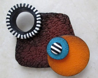 Modern Design Brooch 3, Polymer Clay Brooch, Handmade, Pin, Purple and Orange, Jewelry, Gift for Her, Mom Gift