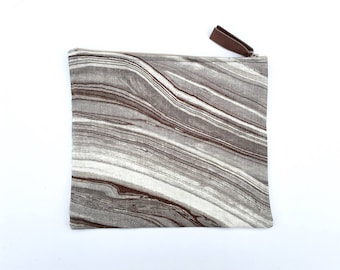 Charcoal Marble Printed Linen Zippered Pouch