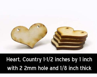 Unfinished Wood Country Heart - 1-1/2 wide by 1 inch tall and 1/8 inch thick with 2 2mm holes wooden shape (HART06)