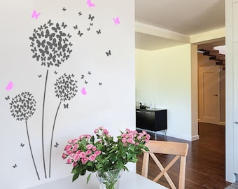 Butterfly Dandelion Wall Decal Sticker Art