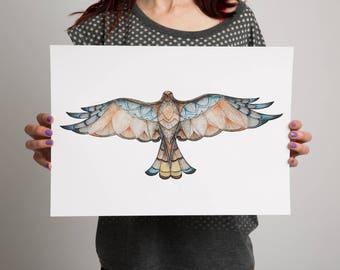 Bird of prey Print- Watercolour Print- Bird of Prey Art- Watercolour Art - Hand drawn - Bird Art - Geometric Patterns
