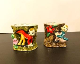Vintage Set of Porcelain Elf Planters