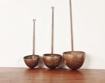 Vintage Set of 3 Copper Measuring Cups