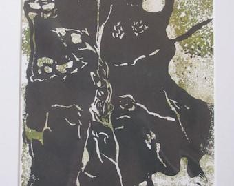 Crevice - Linocut and Collograph Print