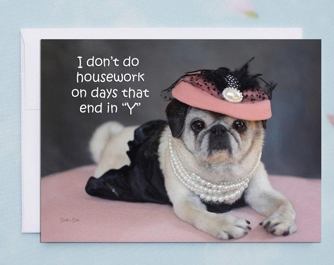 Funny Friendship Cards - Pug Card - Friendship Card - 5x7