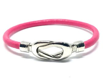 NEW!!! Pink Infinity Leather Wrap Bracelet, Stackable Bangle, Knot Twist Leather Bracelet, Layering Bracelet, Gift for Her, Bohemian Chic