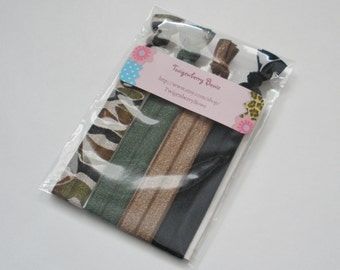 Elastic Hair Tie Set of Four - Camo, Latte Brown, Black, and Camo Green (5021)