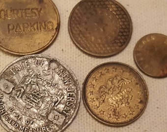 Assortment of Rare and Vintage Tokens 5 Pcs. TAKE A L@@K!!