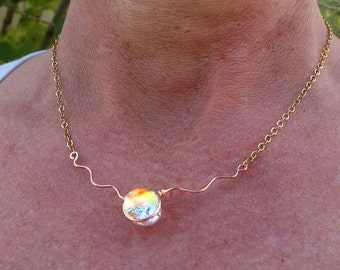 Dichroic Glass Mermaid Tear Choker, Fused Glass Necklace in Translucent Tropical Cha Cha Colors, Gold or Sterling Silver Dainty, Delicate,