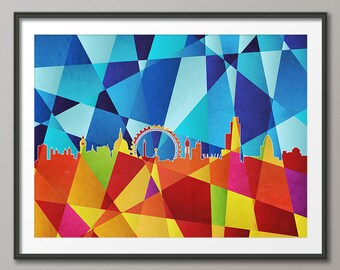 London Skyline, London Cityscape England, Art Print(488)