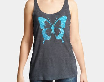 Ladies amazing loose fit Tank Top with blue glitter butterfly. So sparkling you must have it!