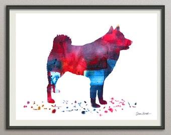 finnish spitz  art print watercolor print  silhouette painting print poster wall art decor drawing, dog wall art silhouette