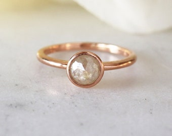 Rose Cut Gray Diamond Ring, 14k Rose Gold Band, Rose Gold Diamond Ring, Unique Engagement Ring, Diamond Engagement Ring, Minimalist Jewelry