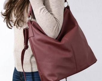 Leder HOBOTASCHE, dunkelrotem Lederhandtasche, Tasche für jeden Tag Tote, Umhängetasche, Laptoptasche Leder Umhängetasche Leder, Hobo Bag Geschenk für Sie