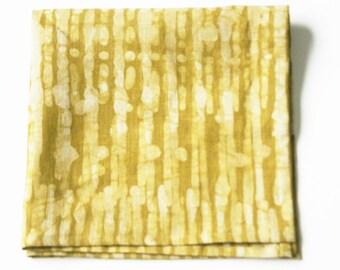 Linen Cloth Napkin Set- Maize Gold Thin Stripe- Hand Batik Block Printed- Set of 4