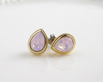 Pink Opal Teardrop Stud Earrings with Titanium Post ~ Swarovski Rosewater Opal ~ Opal Earrings ~  Easter ~ Bridesmaid Gift ~ Holiday Gift