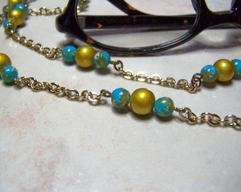 Blue and Gold Eyeglass Chain, One of a Kind, Chain For Glasses, 27 Inches, Light Weight