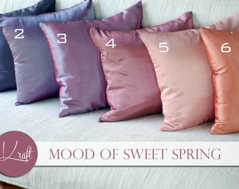 spring-summer silk pillow,plain solid throw pillows, silk cushions, decorative throw pillow, pillow case, Couch Bed Sofa Pillows, 15x15 inch