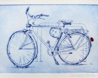 bicycle, original etching printed in blue and red