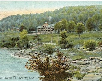 Lake Bomoseen Vermont Country Club Vintage Postcard 1910