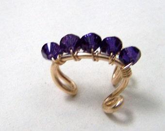 Bridal Ear Cuffs 14k Gold Ear Cuff Gold Body Jewelry Eggplant Purple Swarovski Crystal Ear Cuffs Wedding Ear Cuff