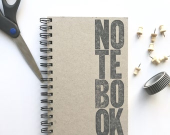 Blank Notebook. Blank pages drawing pad. Sketch book. Letterpress printed notebook