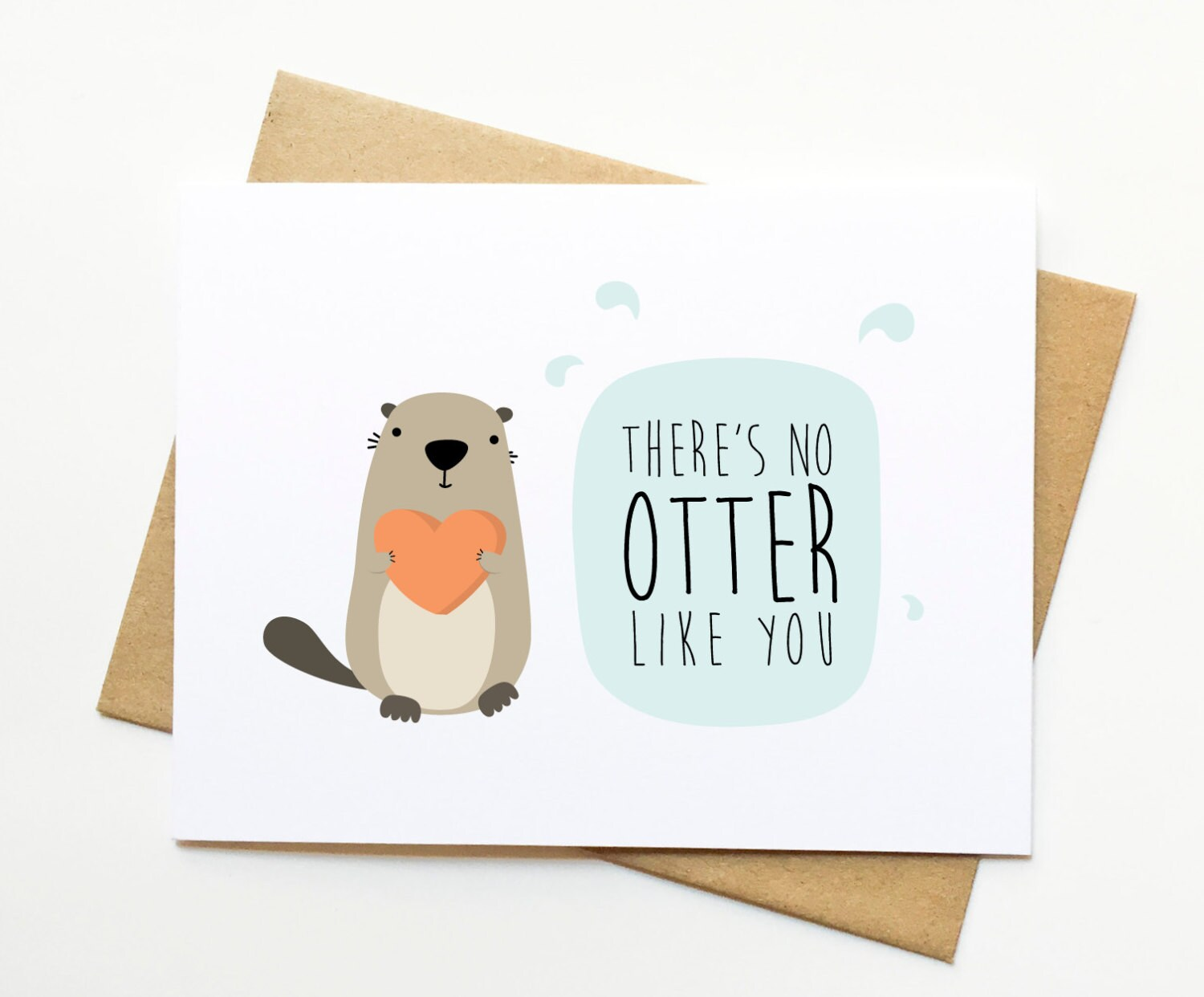 no otter like you valentine funny love pun card