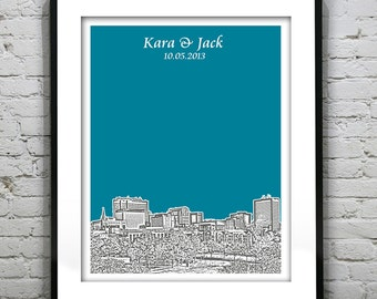 Columbia SC Wedding Guest Book Guestbook Poster Print -City Skyline South Carolina