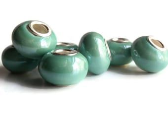 7 Beads, Turquoise Colored Handmade Porcelain  European Style Beads, Jewelry making Supply, rondelle for European style bracelets