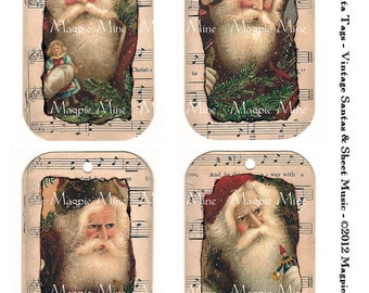 Christmas Victorian Santa Tags - Instant Download  - Collage Sheet - Sheet Music Frames - Vintage Holiday Santas - 3 x 5 Inches - Printable