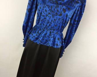 Vintage 80s 90s Dress Blue Black Peplum Cowl Neck 5 S Small M Medium S1