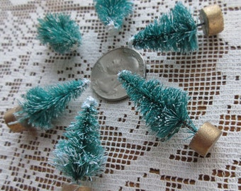 6 Tiny Snowy Bottle Brush Miniature Christmas Trees 1.5 Inches Tall