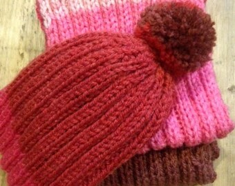 Handmade knitted scarf and hat