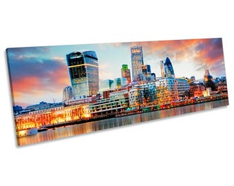 London Skyline Sunset City CANVAS WALL ART Panorama Framed Print