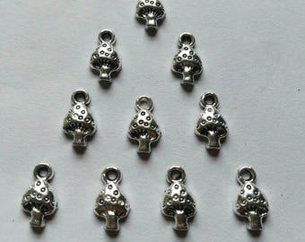 10 Silver Plated Mushroom Charms Pendants